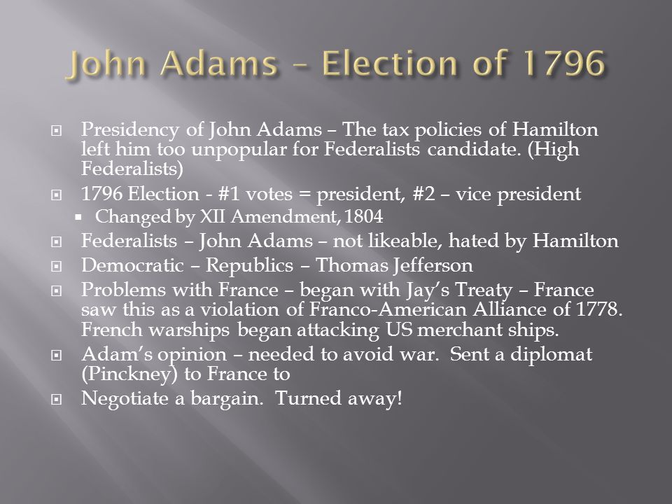 John Adams – Election of 1796
