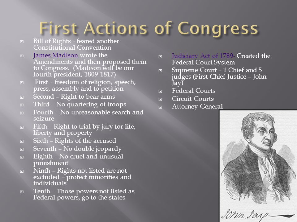 First Actions of Congress
