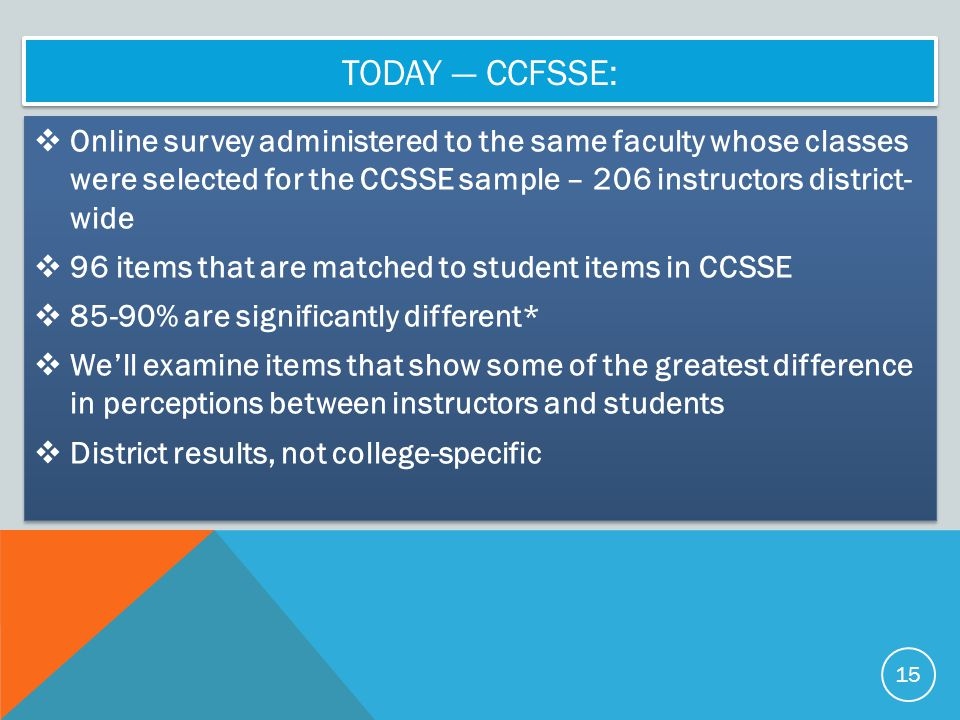 Today — CCFSSE: Online survey administered to the same faculty whose classes were selected for the CCSSE sample – 206 instructors district- wide.
