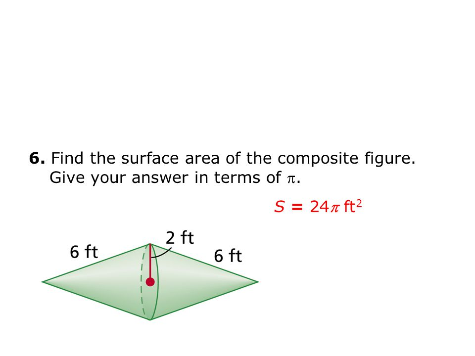 6. Find the surface area of the composite figure