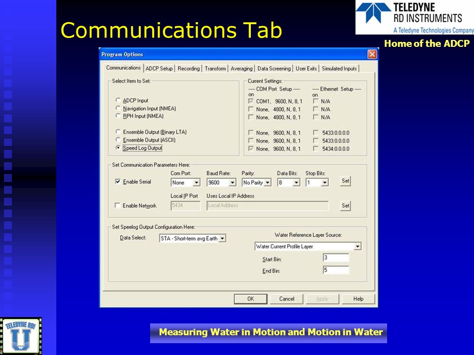 Communications Tab