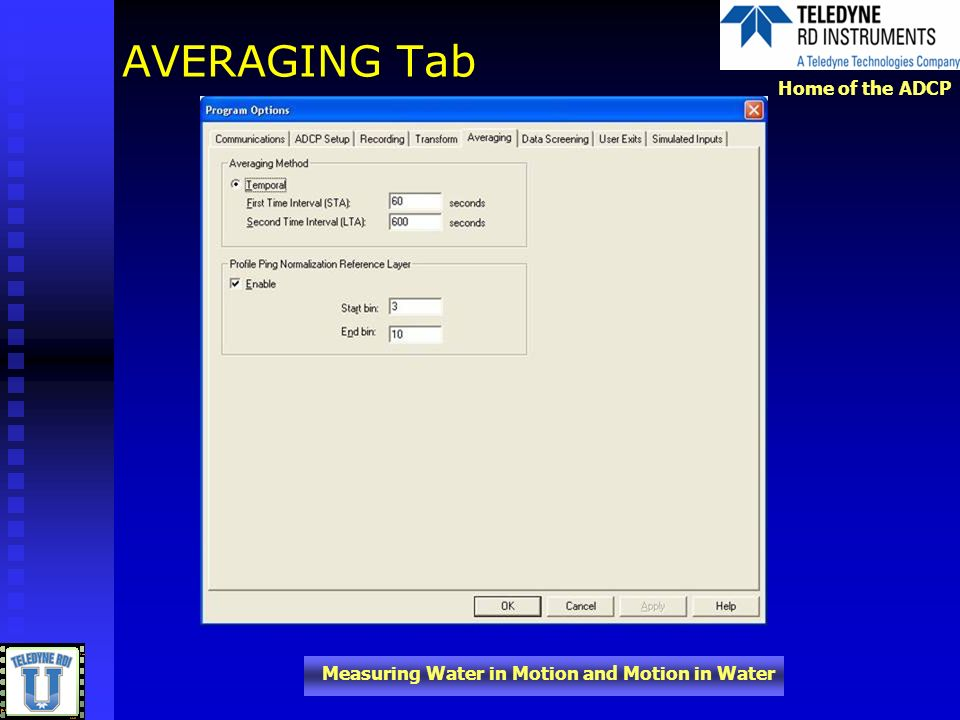 AVERAGING Tab In addition to the raw data files generated by VMDAS, you can set it up to collect short term and long term average files.