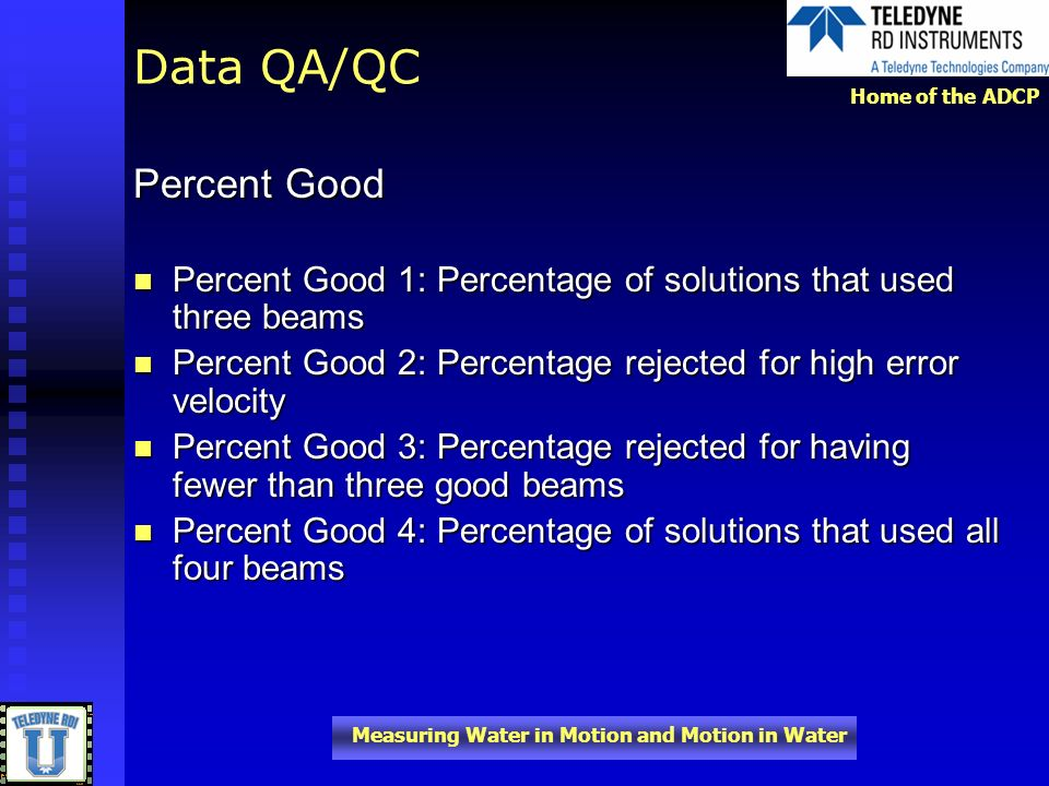 Data QA/QC Percent Good