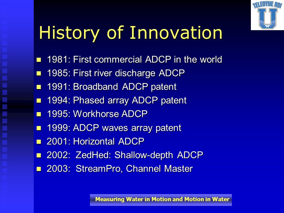 History of Innovation 1981: First commercial ADCP in the world