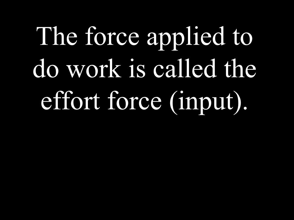 The force applied to do work is called the effort force (input).