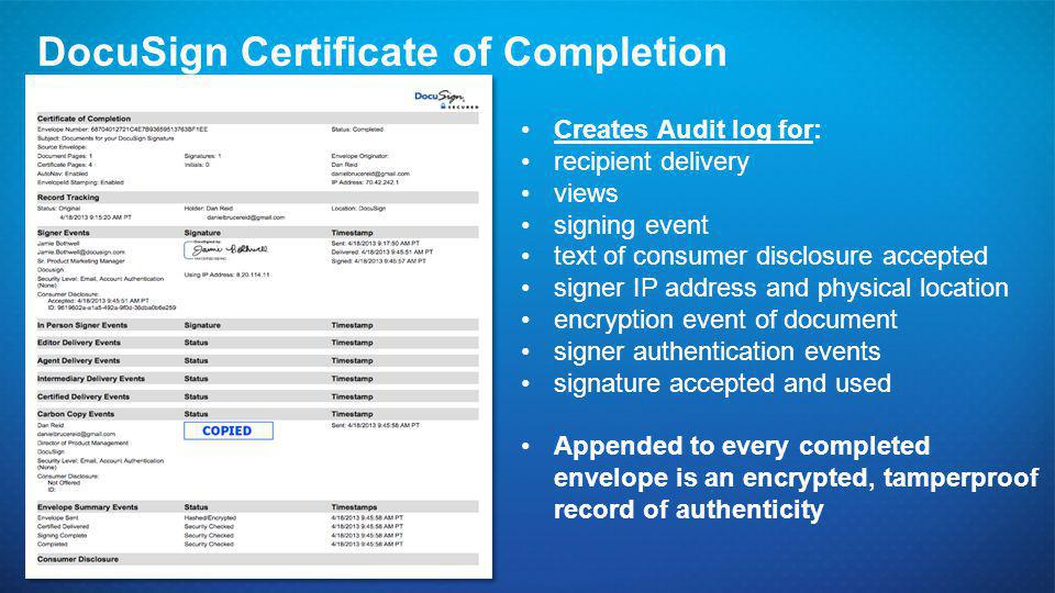 DocuSign Certificate of Completion