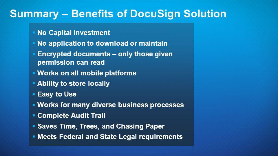 Summary – Benefits of DocuSign Solution