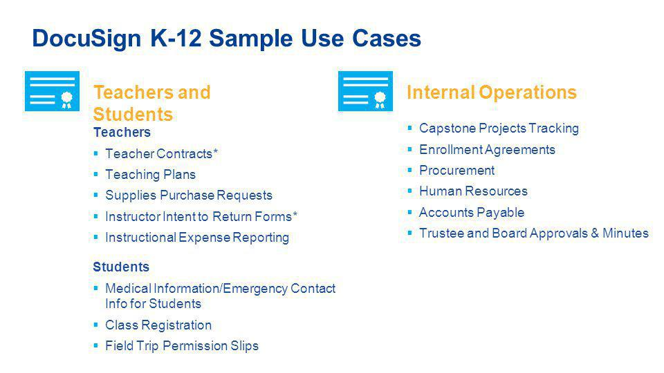 DocuSign K-12 Sample Use Cases