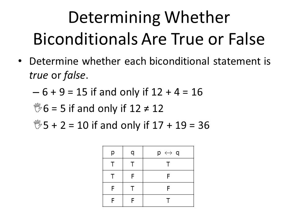Determining Whether Biconditionals Are True or False