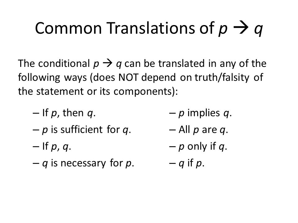 Common Translations of p  q