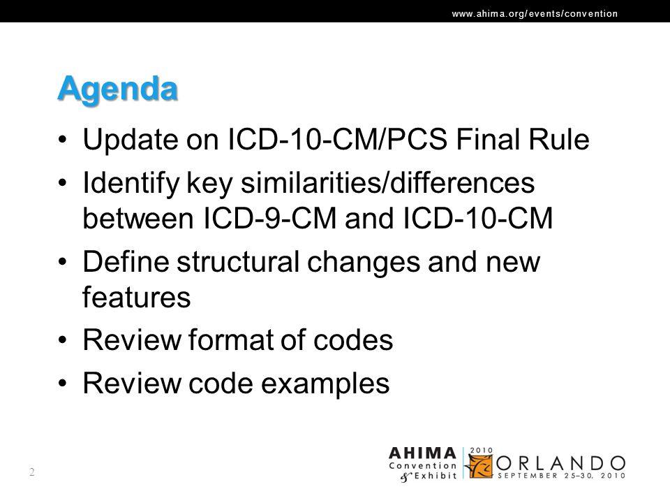 Agenda Update on ICD-10-CM/PCS Final Rule