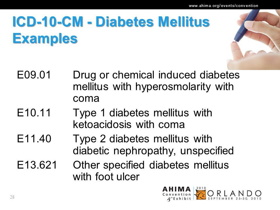 ICD-10-CM - Diabetes Mellitus Examples