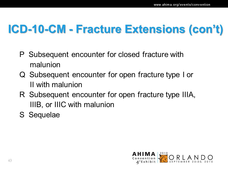 ICD-10-CM - Fracture Extensions (con't)