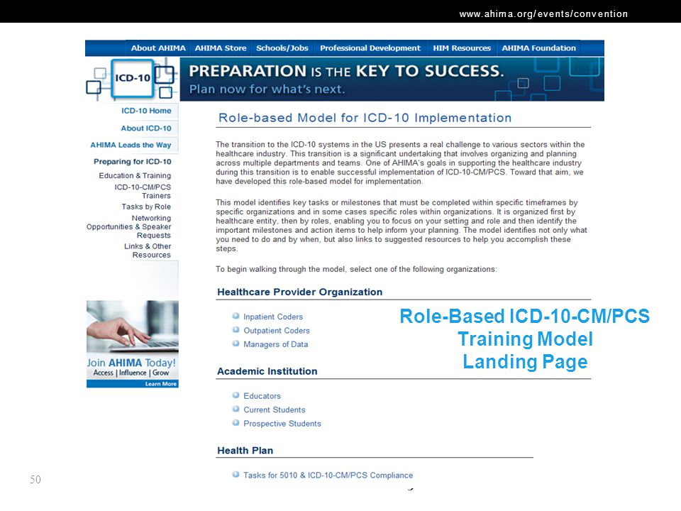 Role-Based ICD-10-CM/PCS Training Model Landing Page