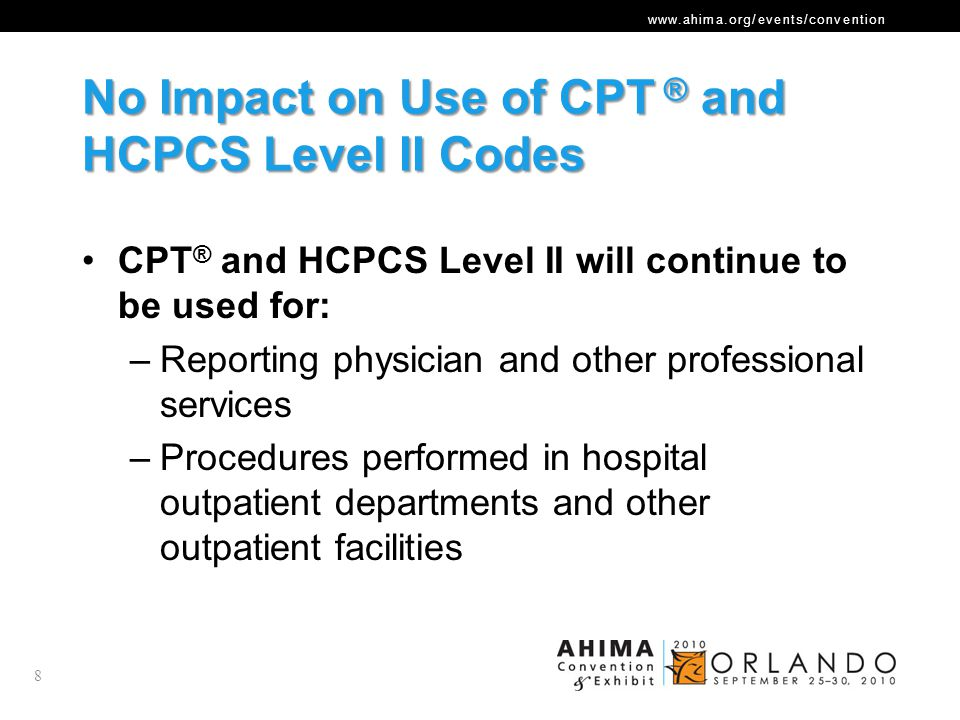 No Impact on Use of CPT ® and HCPCS Level II Codes