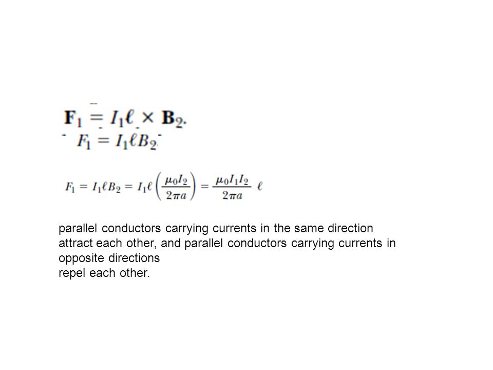 parallel conductors carrying currents in the same direction