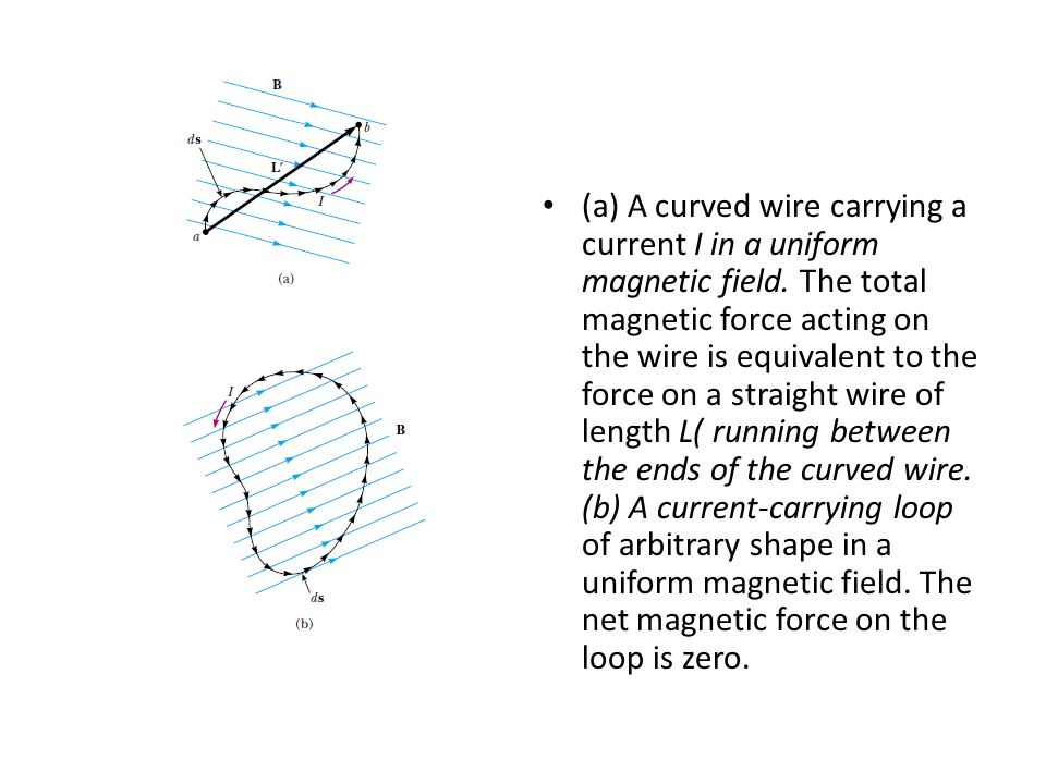 (a) A curved wire carrying a current I in a uniform magnetic field