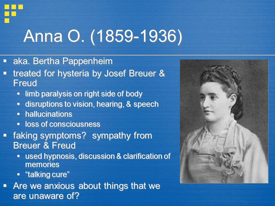 Anna O. (1859-1936) aka. Bertha Pappenheim