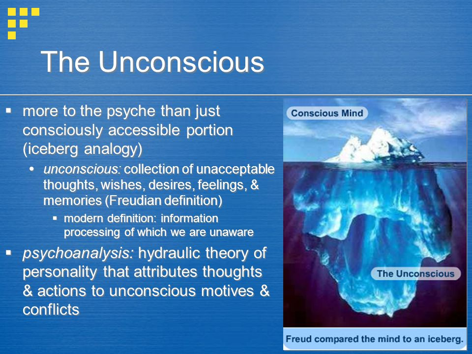 The Unconscious more to the psyche than just consciously accessible portion (iceberg analogy)