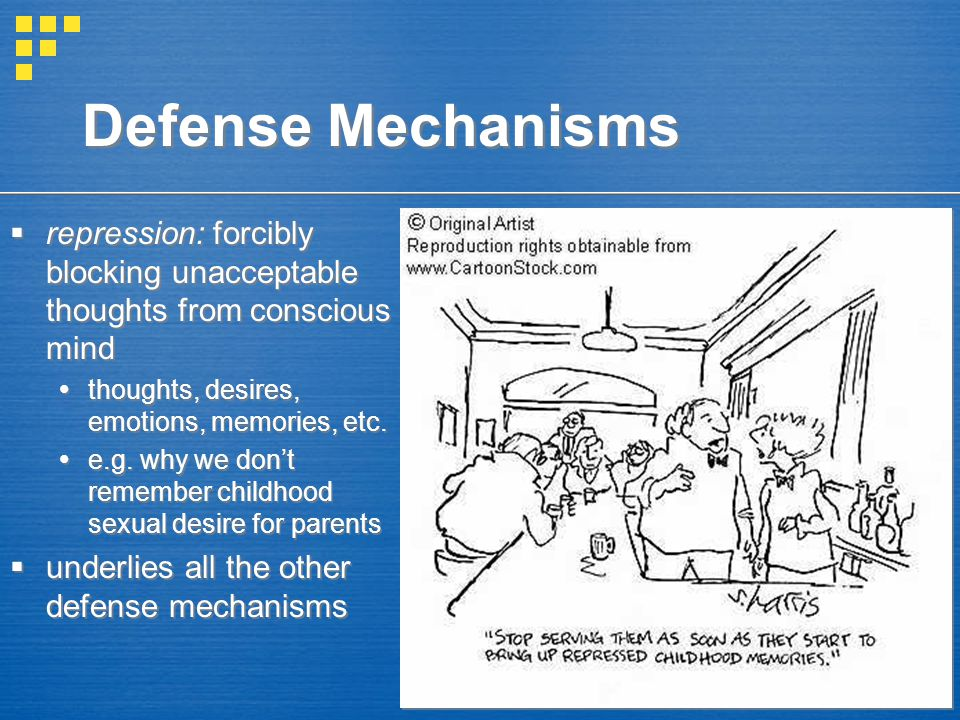 Defense Mechanisms repression: forcibly blocking unacceptable thoughts from conscious mind. thoughts, desires, emotions, memories, etc.