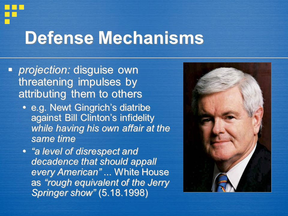 Defense Mechanisms projection: disguise own threatening impulses by attributing them to others.
