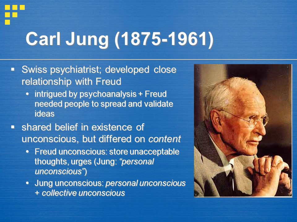 Carl Jung (1875-1961) Swiss psychiatrist; developed close relationship with Freud.