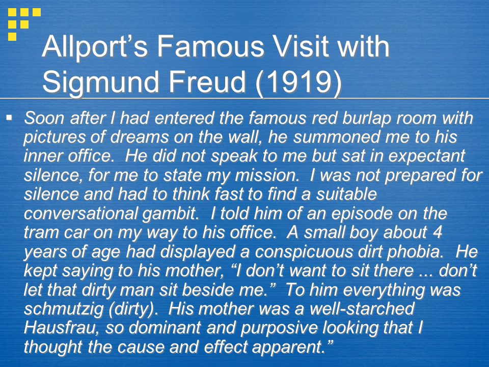 Allport's Famous Visit with Sigmund Freud (1919)