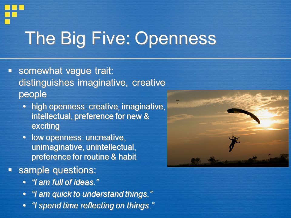 The Big Five: Openness somewhat vague trait: distinguishes imaginative, creative people.