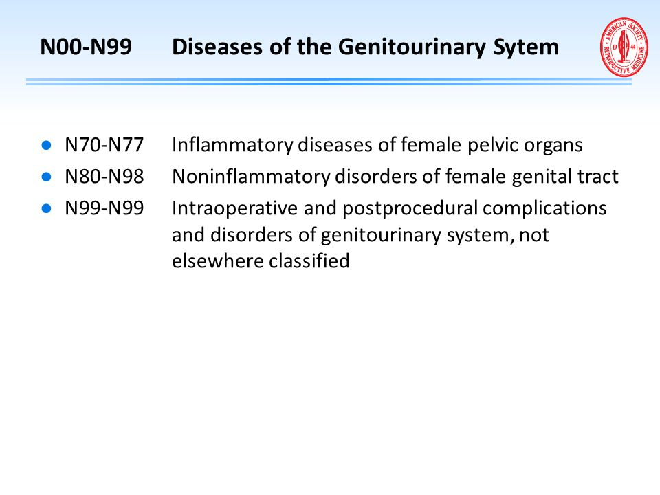 N00-N99 Diseases of the Genitourinary Sytem