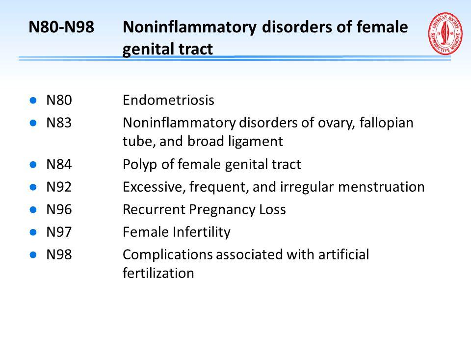 N80-N98 Noninflammatory disorders of female genital tract