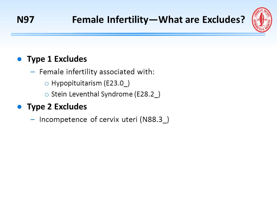 N97 Female Infertility—What are Excludes