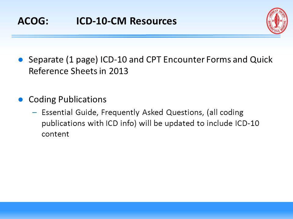 ACOG: ICD-10-CM Resources