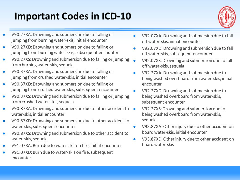 Important Codes in ICD-10