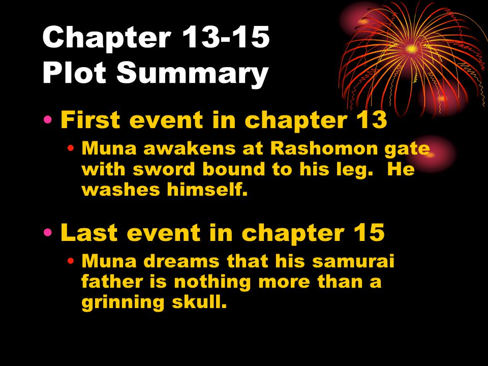 Chapter 13-15 Plot Summary First event in chapter 13