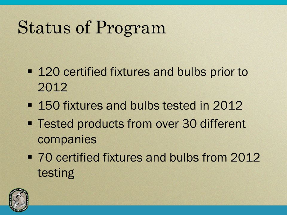 Status of Program 120 certified fixtures and bulbs prior to 2012