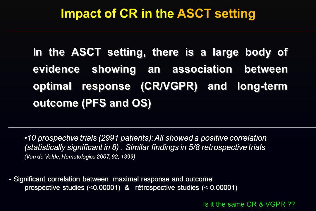 Impact of CR in the ASCT setting