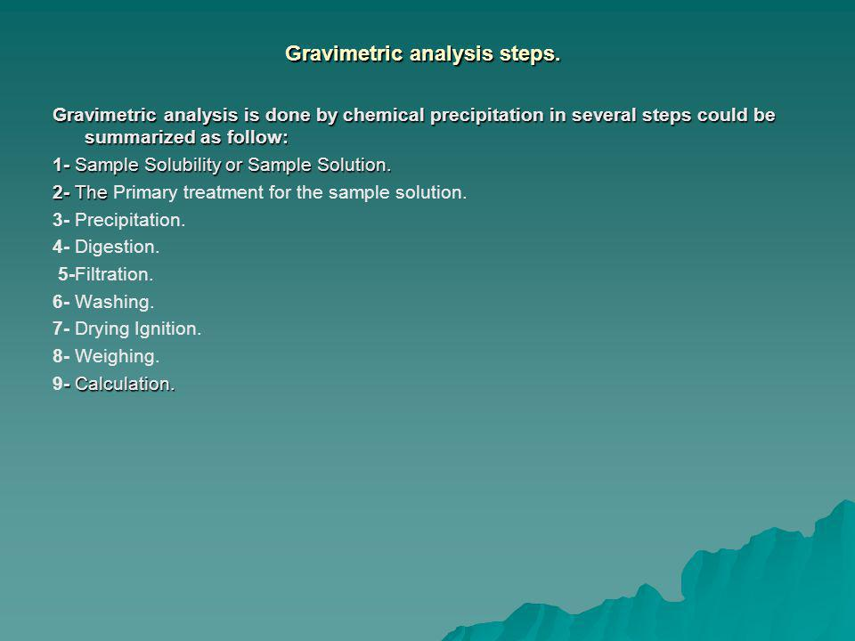Gravimetric analysis steps.