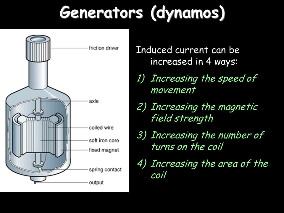 Generators (dynamos) Induced current can be increased in 4 ways: