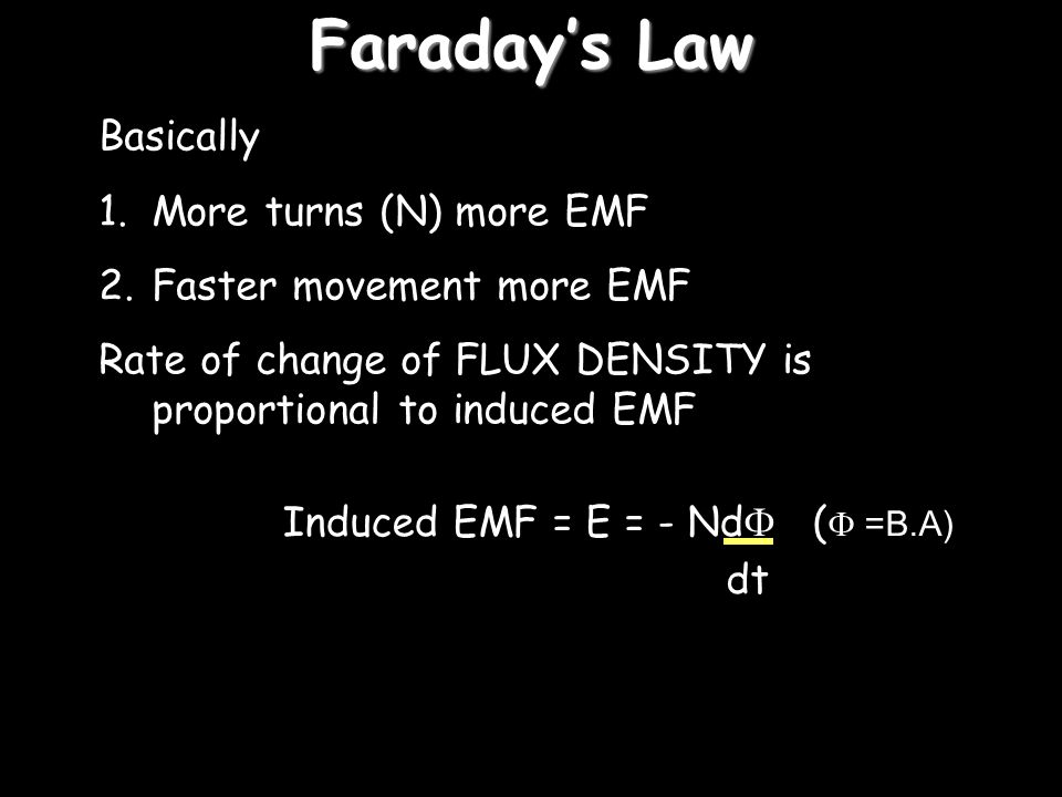 Faraday's Law Basically More turns (N) more EMF