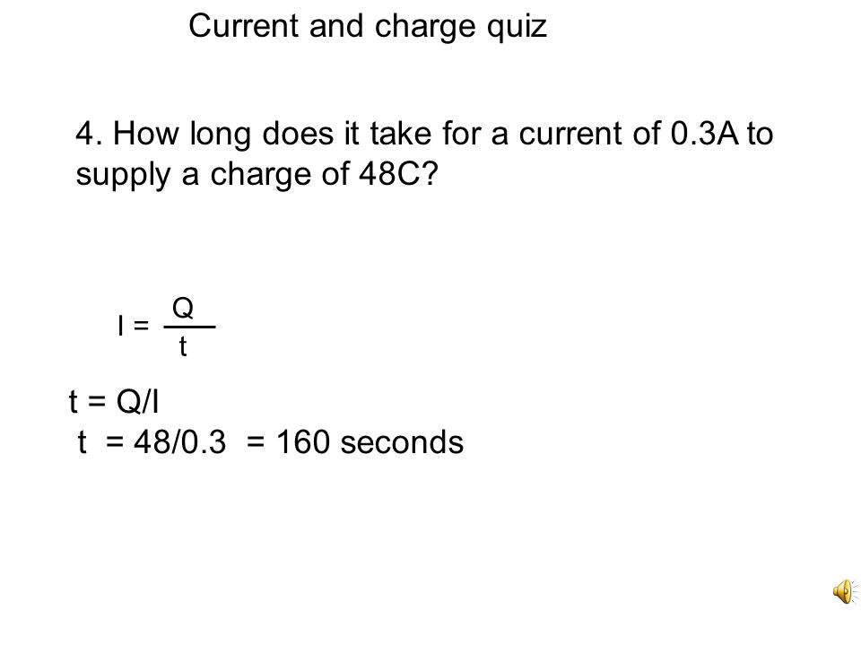 Current and charge quiz