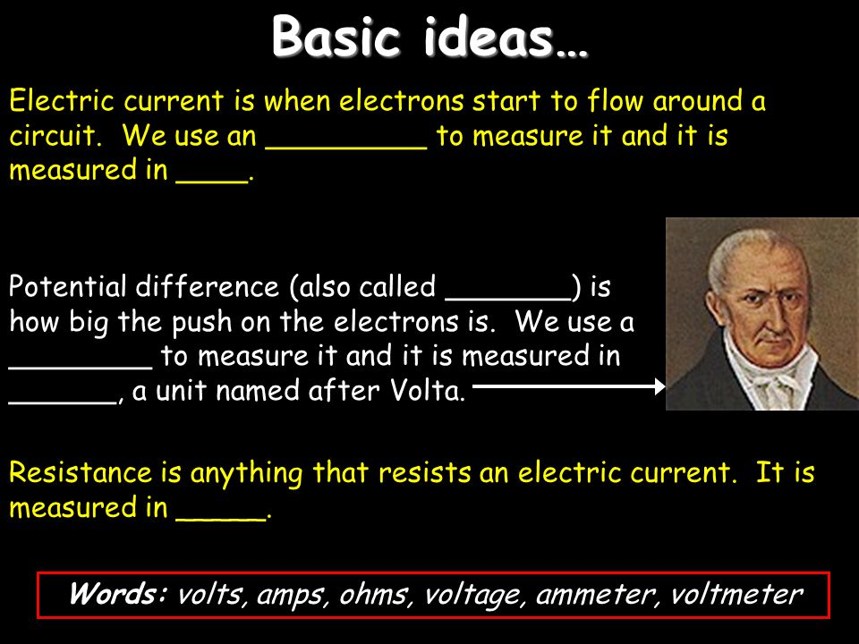 Words: volts, amps, ohms, voltage, ammeter, voltmeter