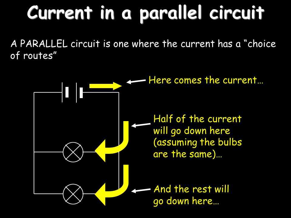 Current in a parallel circuit