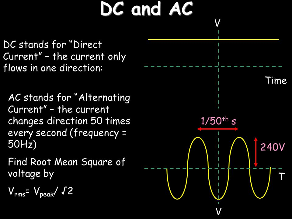 DC and AC V. DC stands for Direct Current – the current only flows in one direction: Time.