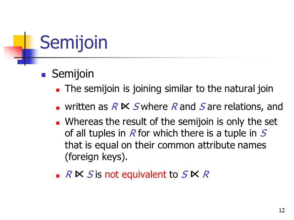Semijoin Semijoin The semijoin is joining similar to the natural join