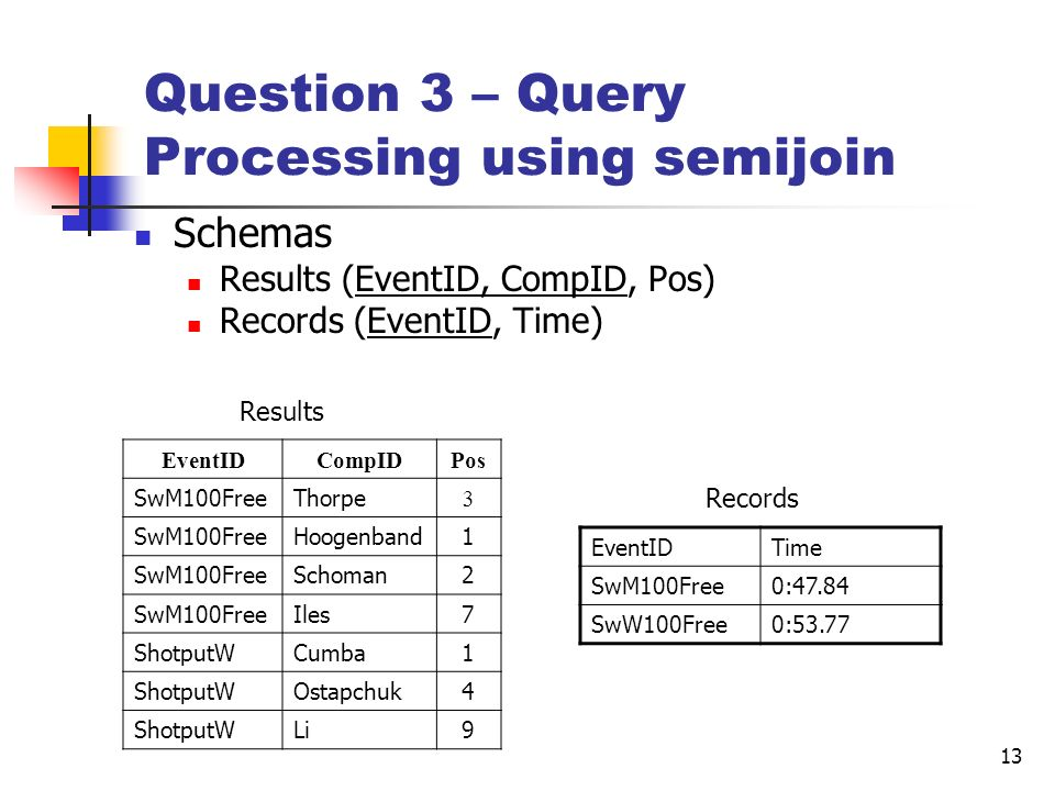 Question 3 – Query Processing using semijoin