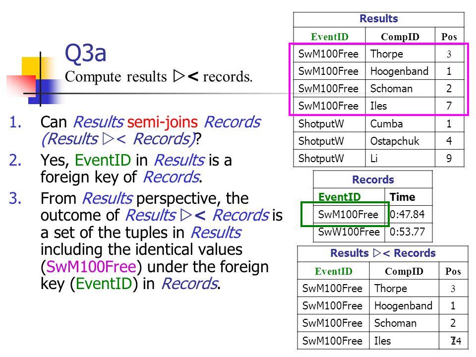 Q3a Compute results < records.