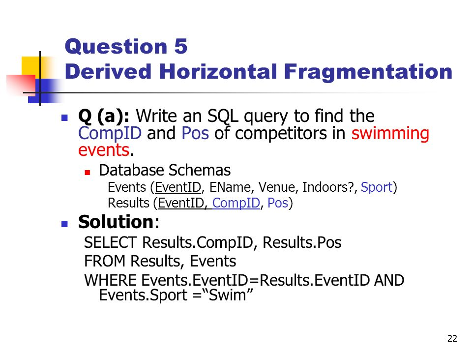 Question 5 Derived Horizontal Fragmentation