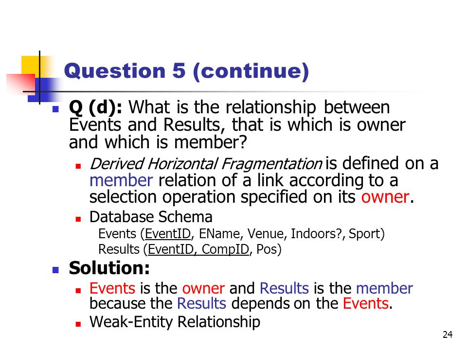 Question 5 (continue) Q (d): What is the relationship between Events and Results, that is which is owner and which is member