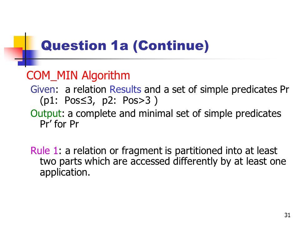 Question 1a (Continue) COM_MIN Algorithm