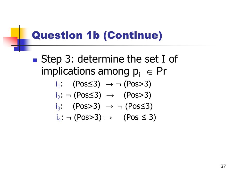 Step 3: determine the set I of implications among pi  Pr